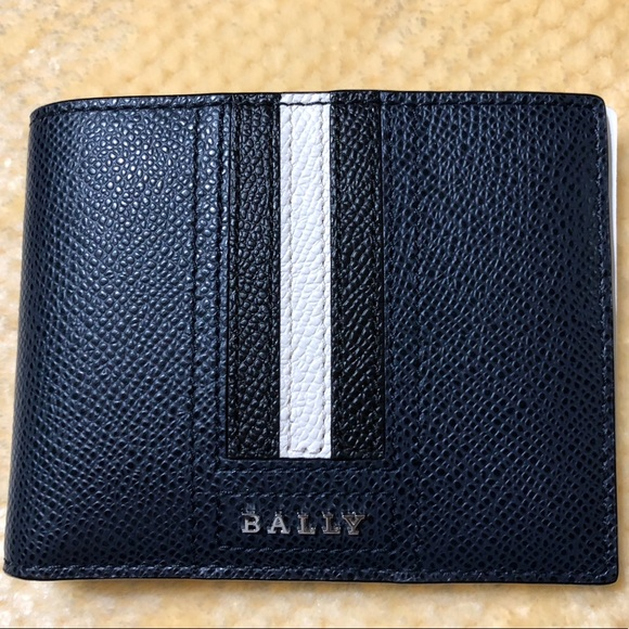 2f8b2ca2c228a BALLY TEVYE EMBOSSED BOVINE LEATHER WALLET BLUE